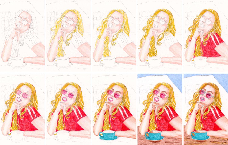 Portrait zeichnen: Kaugummi Mädel - Buntstiftkolorierung einzelne Schritte