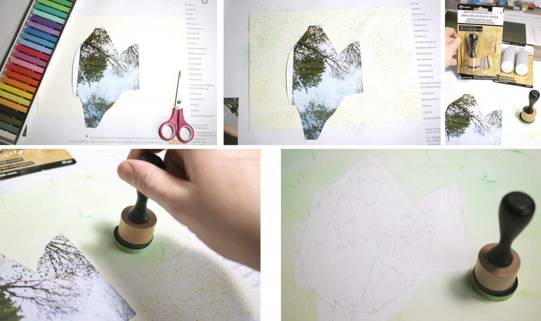 Maus in Tulpe zeichnen: Hintergrundgestaltung - Pastell verblenden