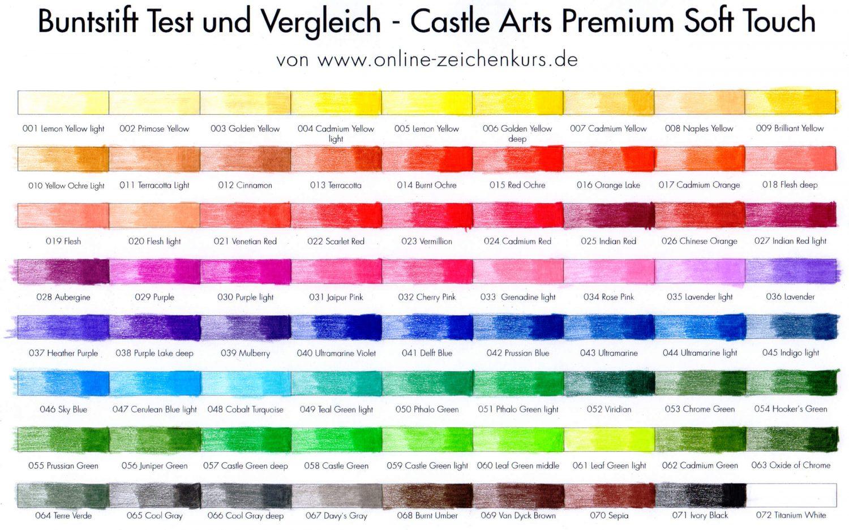 Ausgefülltes Farbchart: Castle Arts Premium Soft Touch Colored Pencils