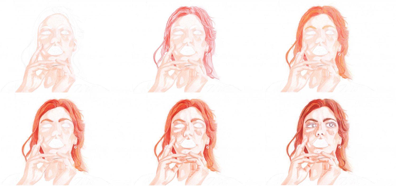 Portrait malen: Rothaarige Frau Schritte 1 bis 6
