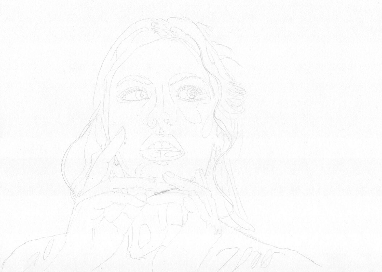 Portrait malen: Rothaarige Frau Bleistiftskizze