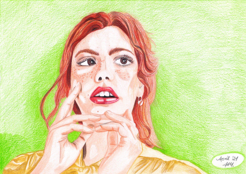 Portrait malen: Rothaarige Frau Buntstiftkolorierung Hintergrund