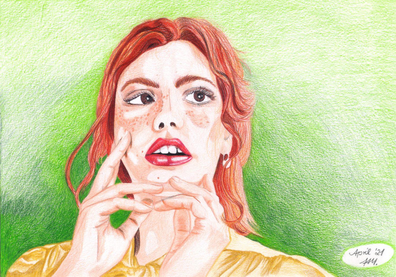 Portrait malen: Rothaarige Frau Buntstiftkolorierung fertig