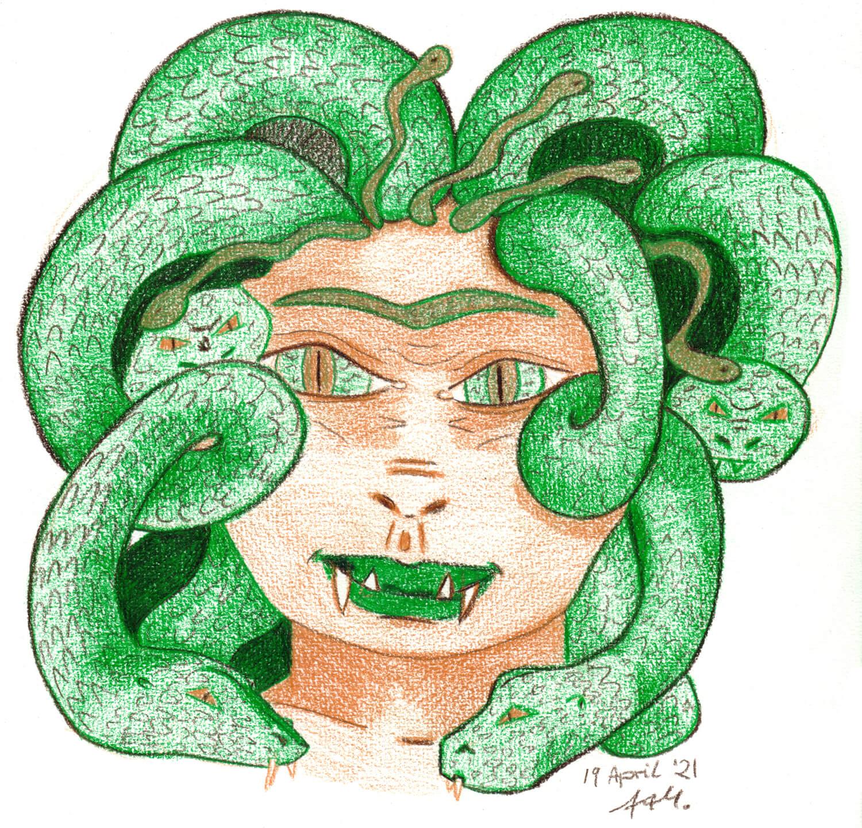 Medusa Wettbewerbsbild gemalt mit drei Castle Arts Buntstiften