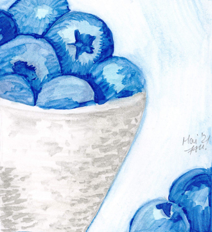 Blaubeeren malen mit Promarker brush fertig
