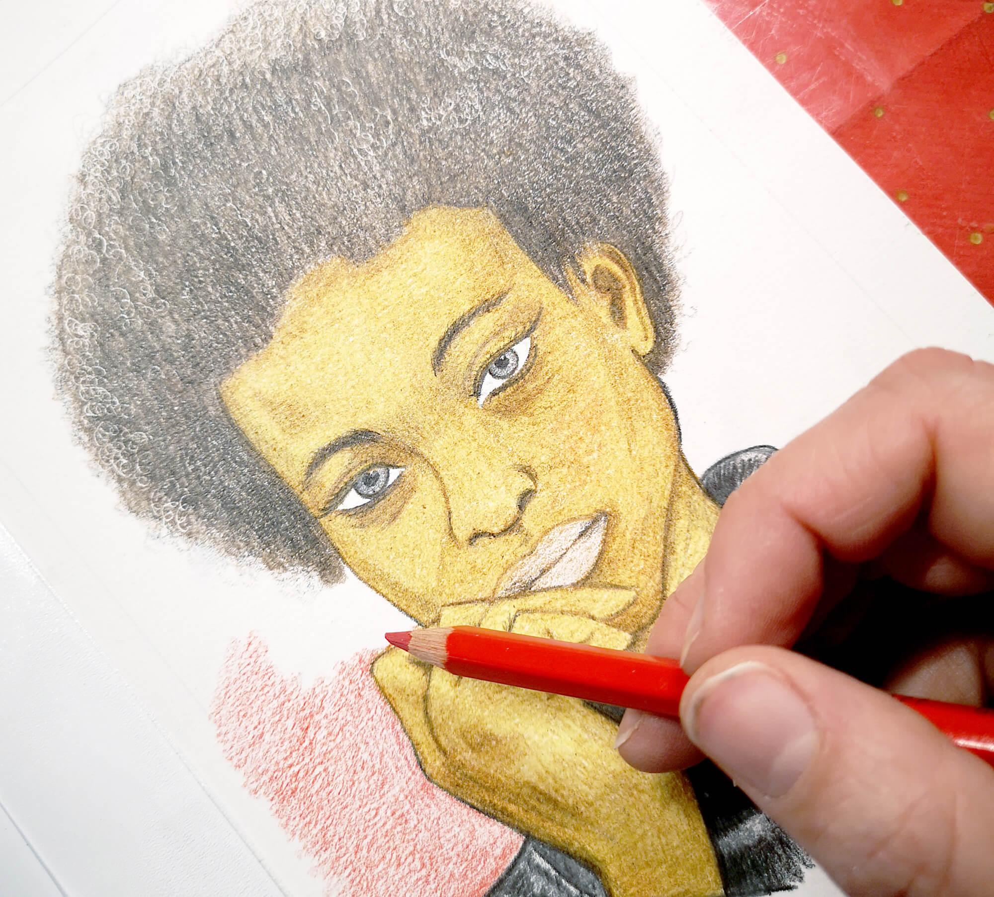 Portrait einer Frau zeichnen mit Polycolor Buntstiften