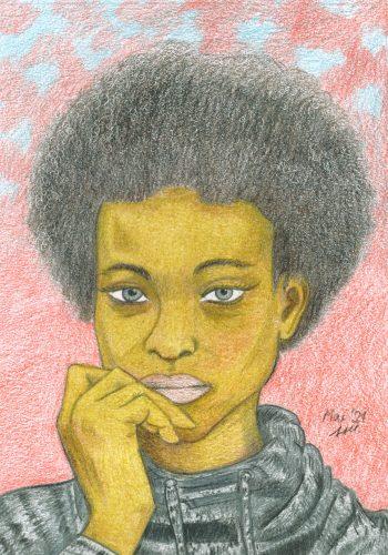 Portrait einer Frau zeichnen: fertige Buntstiftzeichnung