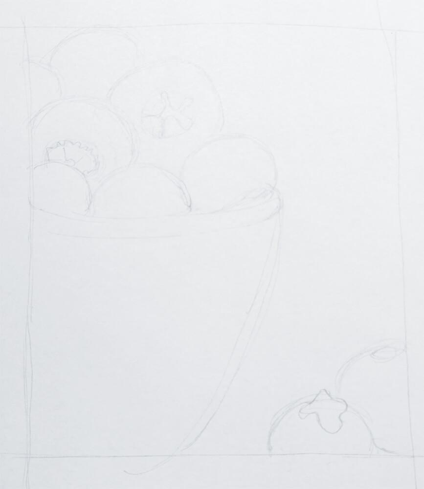 blaubeeren malen Bleistiftskizze