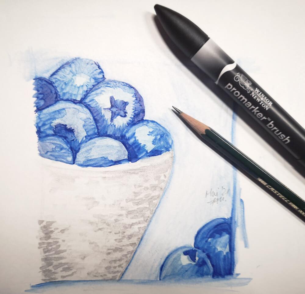 Blaubeeren malen mit promarker brush