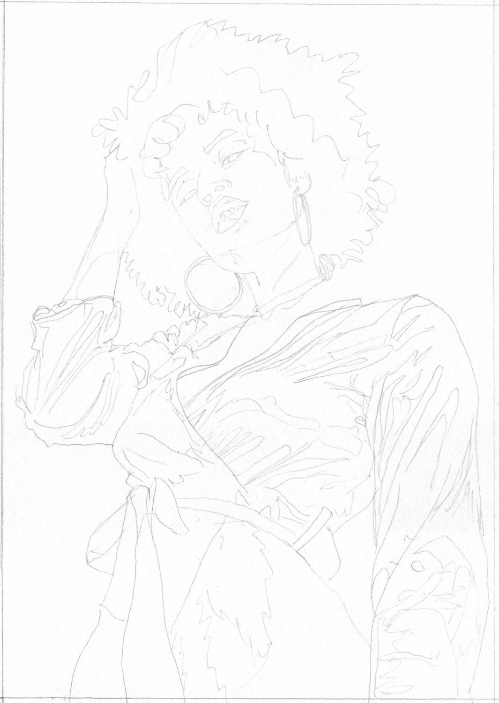 Afroamerikanische Frau zeichnen Bleistiftskizze