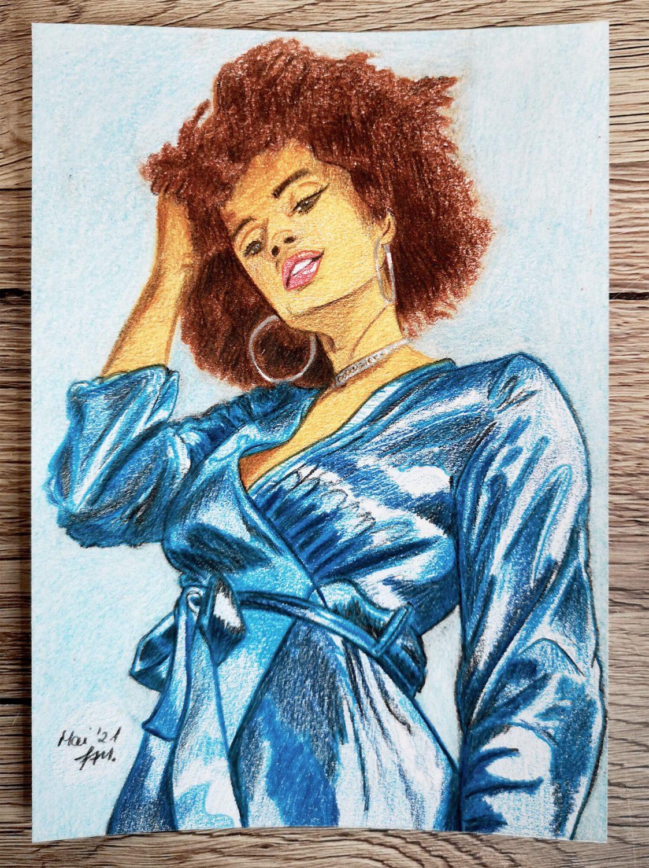 Afroamerikanische Frau zeichnen - fertige Buntstiftzeichnung