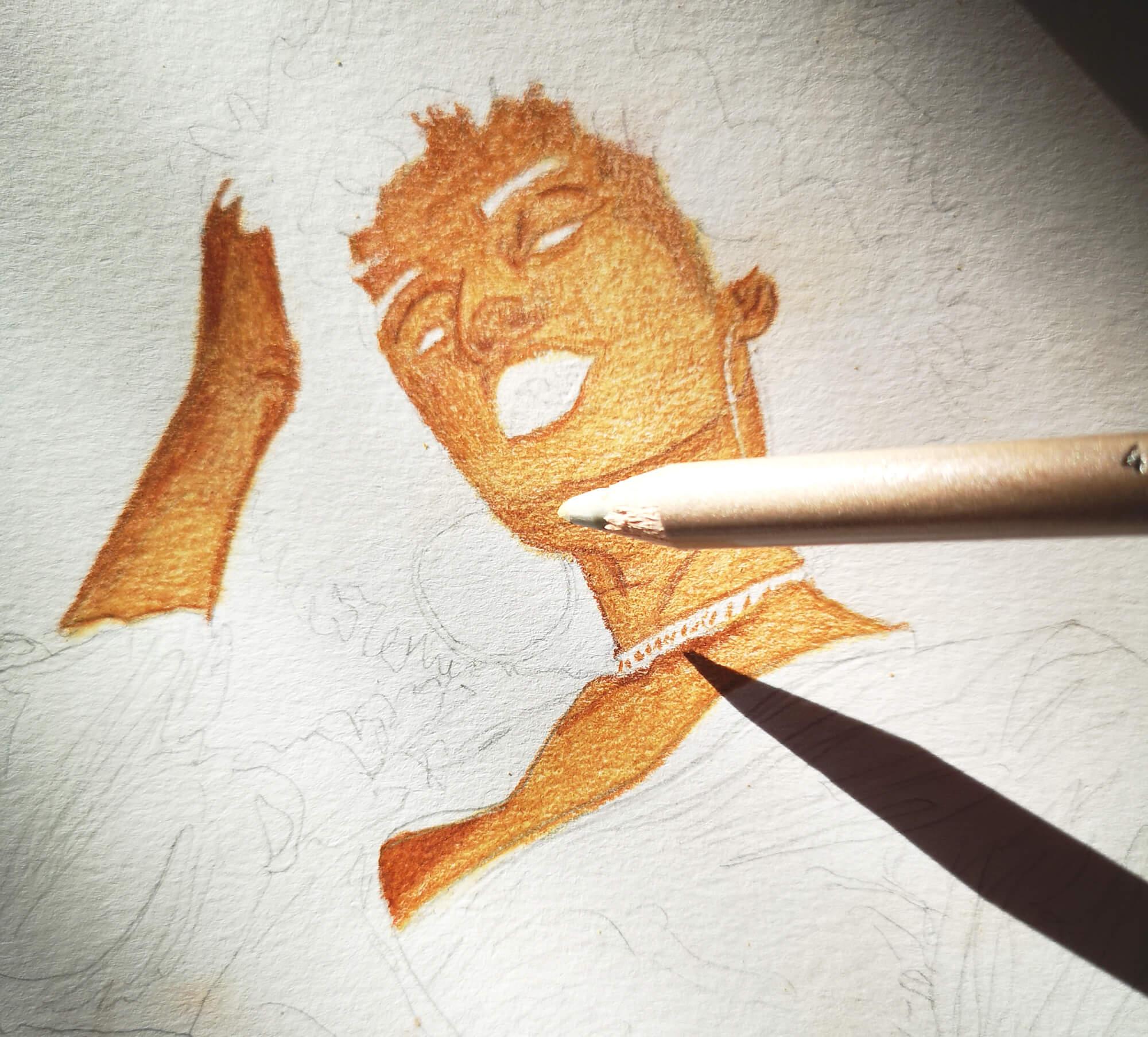 Afroamerikanische Frau zeichnen mit Polycolor Buntstiften