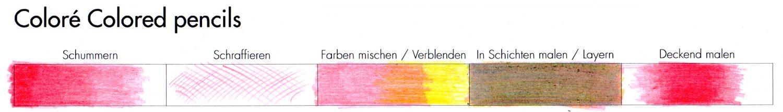 Buntstifttests: Praxis Techniken Coloré Colored Pencils