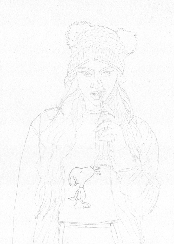 Mädel Portrait zeichnen Bleistiftskizze