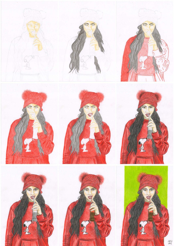 Mädel Portrait zeichnen Buntstiftkolorierung einzelne Schritte