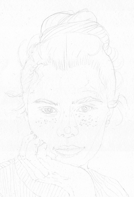 Nachdenkliches Mädel Portrait zeichnen Bleistiftskizze