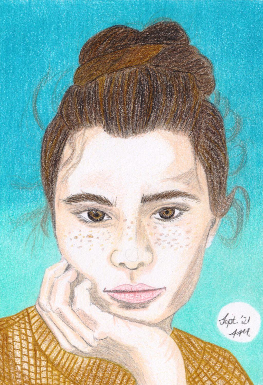 Nachdenkliches Mädel Portrait zeichnen Buntstiftkolorierung fertig