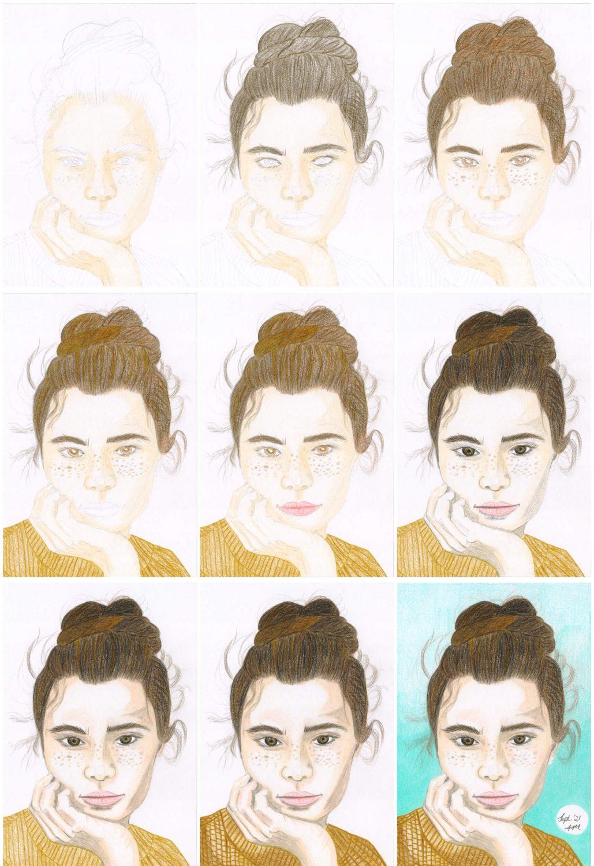Nachdenkliches Mädel Portrait zeichnen Buntstiftkolorierung Schritte